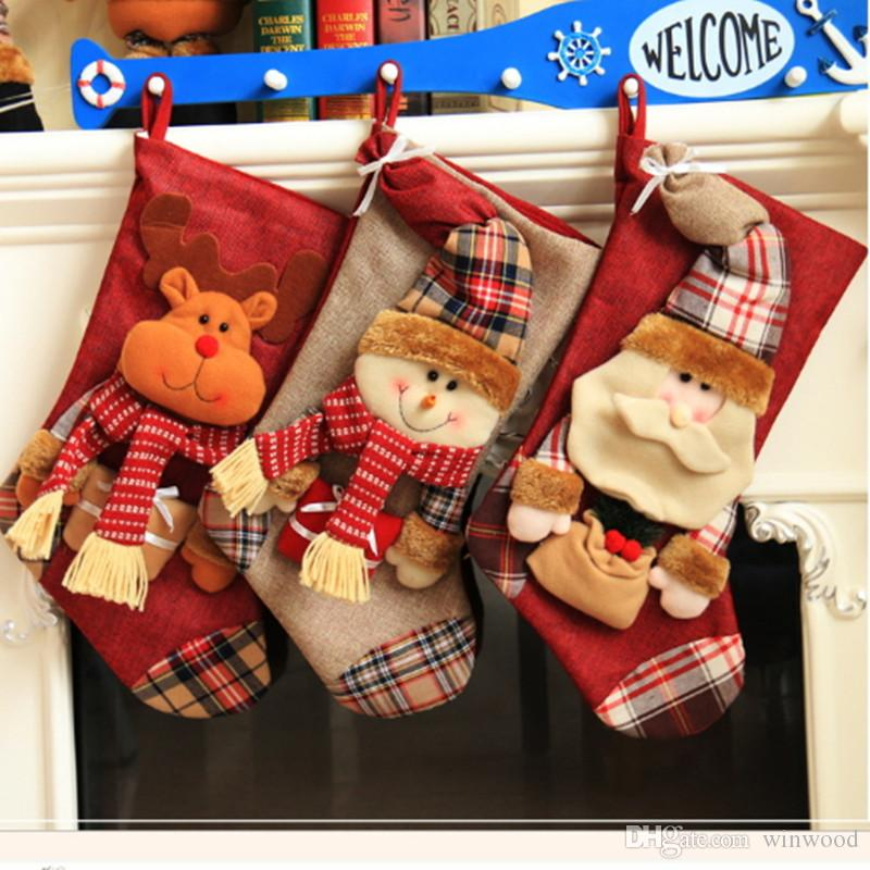 large christmas stockings snowman reindeer decorative big stocking candy socks gifts bags xmas tree hanging oranments santa elk decoration christmas - Large Christmas Stockings