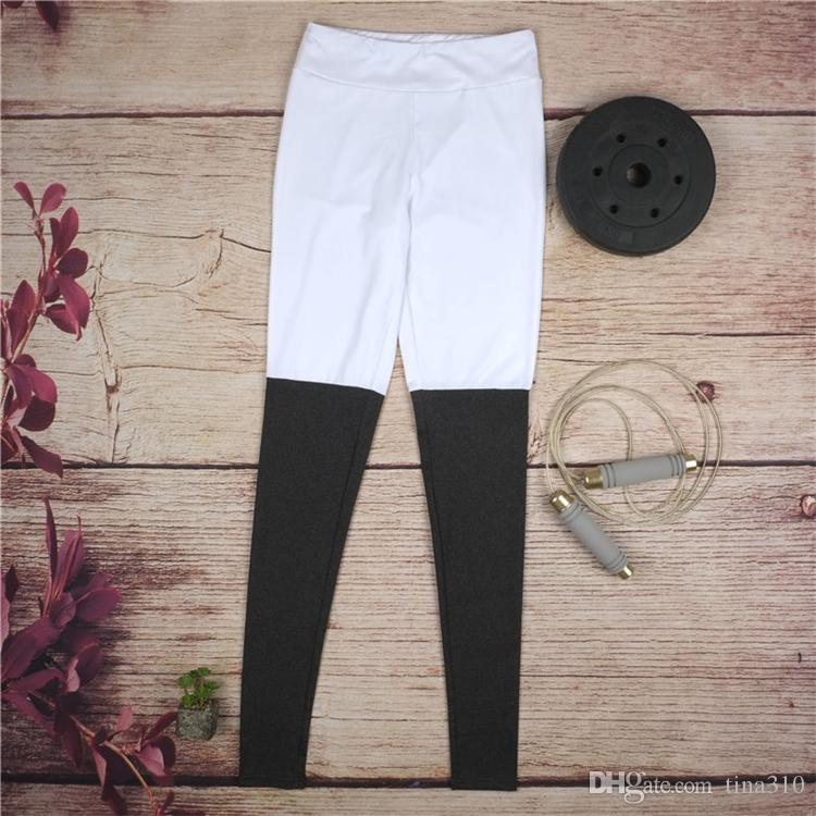 Al por mayor - Las nuevas mujeres de la moda cosen el color de los pantalones ajustados de yoga fitness Leggings ejercicio Gym Clothing A0310