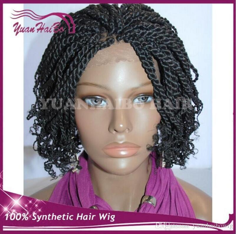 Hot selling short kinky twist braided lace front wigs full hand tied synthetic hair wigs with curly tips for african americans