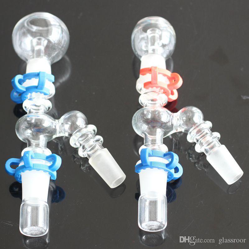 Ángulo de 45 grados ángulo de 90 grados Recuperar el colector de ceniza 14 mm 18 mm Tubo de vidrio hembra-hombre Adaptador de vidrio con clip Keck para tubo de agua de vidrio