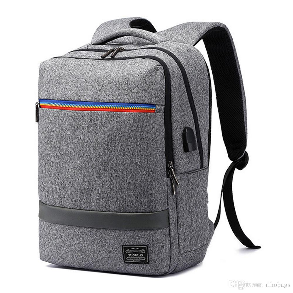 073558b6bf4f Men Large Canvas USB Charger Port 15 Inch Lapop Backpack Book Bag Travel Bag  Online with  43.11 Piece on Rihobags s Store