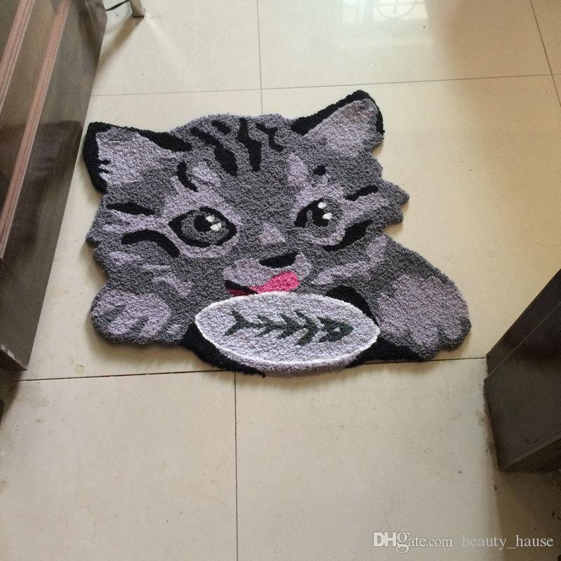 Moda mano Hooked Anima Mat Living Porta Mats, Gatto Vivid e pesce ricamato Porticato Zerbino Piano Karpet Tappeti regalo Kitchen