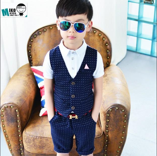 e6152b5bd 2018 Summer New Boys Dress Suit Western-style Fashion Fake Two ...