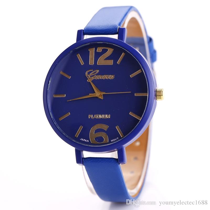 e0ff18ff40e Compre 500 Peças De Moda De Genebra Assistir Relogio Feminino Pulseira De  Couro Mulheres Relógios Casuais Relógio De Quartzo Relogio Masculino De ...