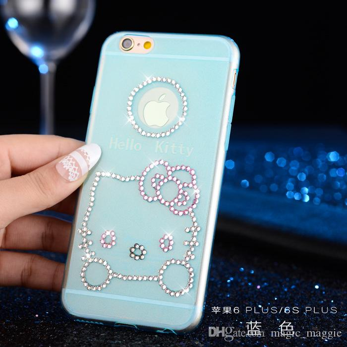 Bling Bling Crystal Rhinestones Cell Phone Case Hello Kitty Pattern Cell Phone Case Shockproof TPU Phone Cover for Iphone5 Iphone6 6plus