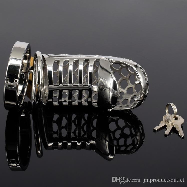A950D ultimo disegno castità gabbia castità cb rubinetto d'acciaio con anello a punta 85mm lunghezza 180 g peso
