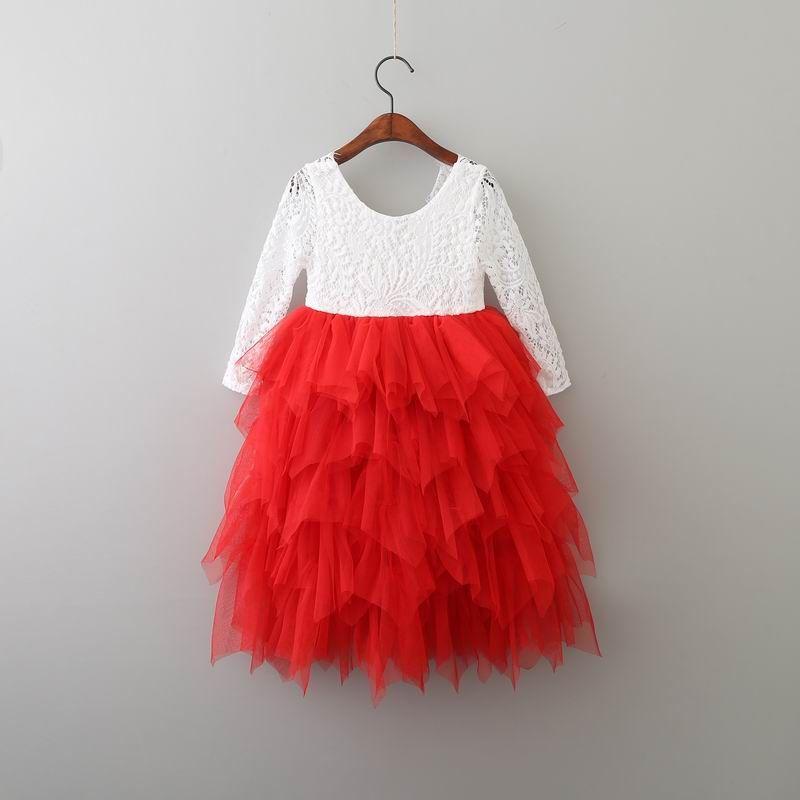 Vendita al dettaglio delle nuove ragazze pizzo Abito Fiore Tiered Tulle maxi vestito a maniche lunghe principessa il partito di nozze vestiti dei bambini 1-10Y E17104