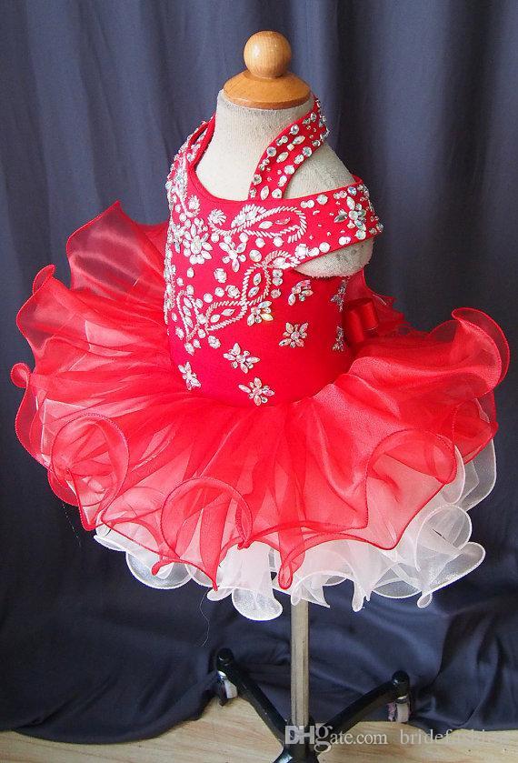 Halter off shoulder short sleeve flower girls organza beads cupcake little girls pageant dresses kids toddler glitz prom Infant ball gowns