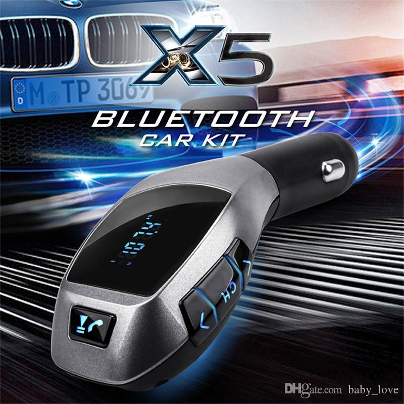 2016 X5 Bluetooth Handsfree FM Transmitter Car Kit MP3 Music Player Radio Adapter Work with TF Card U Disk For iPhone Smartphone