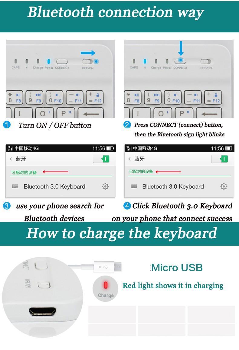 لوحة المفاتيح بلوتوث الهاتف القضية للحصول على 6 6S حالة جلدية مع لوحة مفاتيح لاسلكية لينوفو سامسونج هواوي XIAOMI ZTE سوني HTC