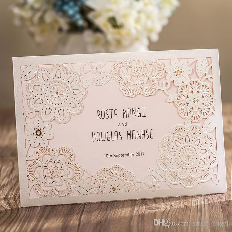 New 2019 White Lace Flora Wedding Invitations Cards Laser Cut Hollow