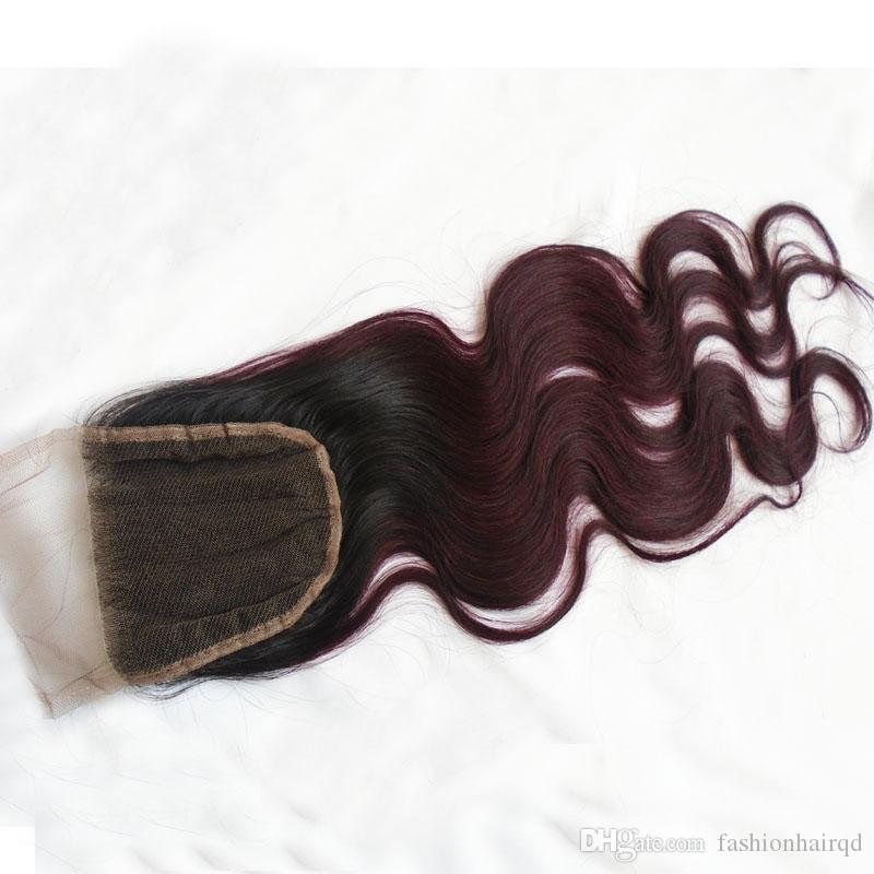 Ombre Lace Closure T1b / 99j Radice scura Borgogna Two Tone Top chiusura Brasiliana Body Wave Virgin capelli umani libera Middle 3 Way Parte
