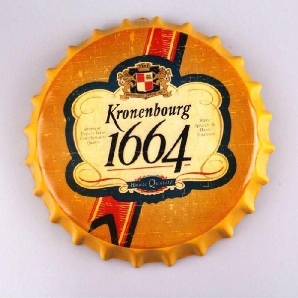 Kronenbourg 1664 Bière Bouteille Ronde Casquette Vintage signe En Étain Bar pub maison Décoration Murale En Métal
