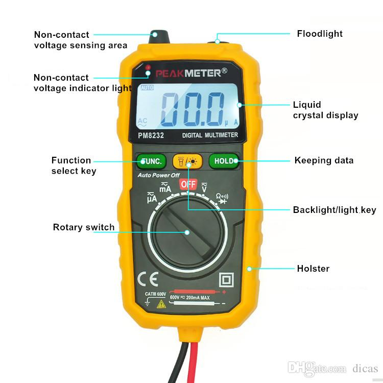 handhold digital multimeter current resistance capacitance non-contact voltage electrical testing instrument tool
