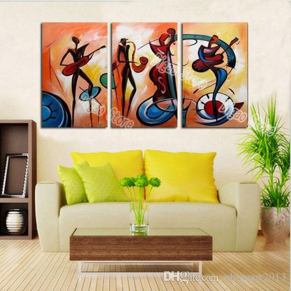 2018 Hand Painted Figures Oil Painting On Canvas Abstract Music ...