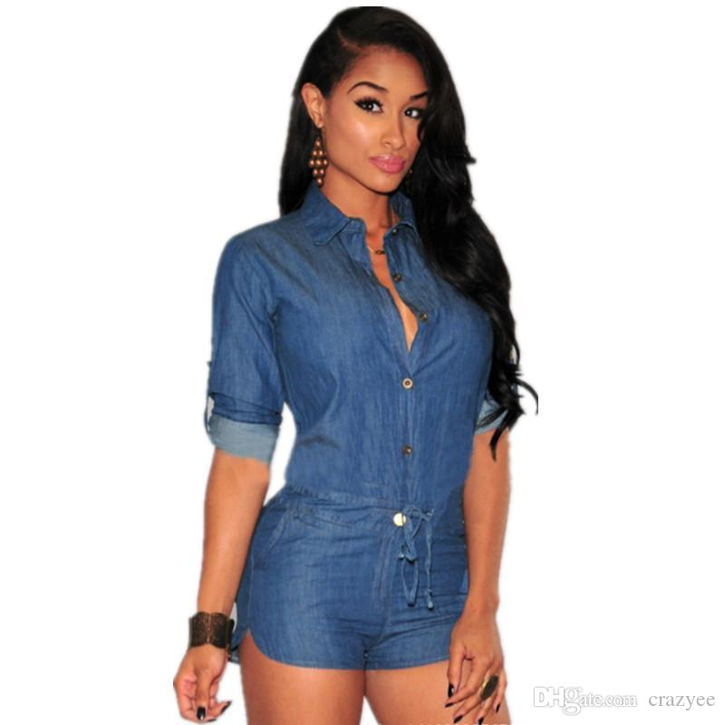 a9a5d46e7e5 2016 New Sexy Rompers for Women Shorts Denim Jumpsuit Casual Single ...