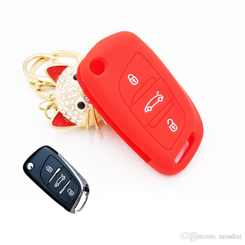 2016 Новый Стайлинга Автомобилей Складной Силиконовый Чехол Для Ключей 3 Кнопки Citroen C5 Пять Цветов Высокое Качество