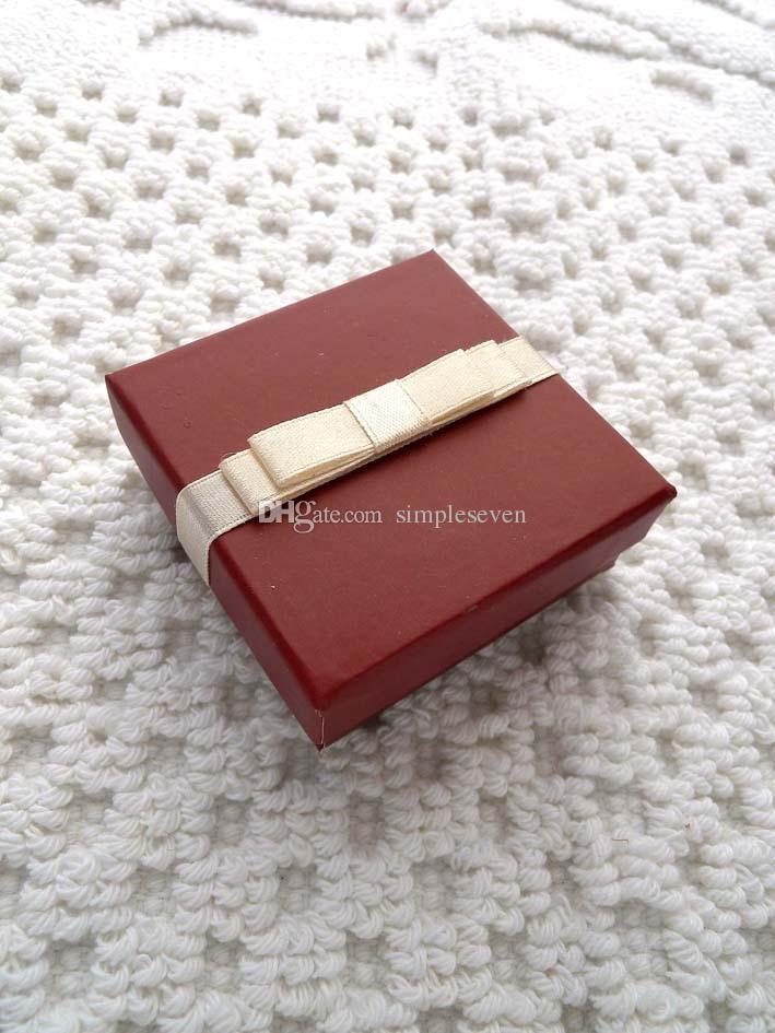 [Simple Seven] бордовый цвет Браслет Box / бордовых серьги Case / Solid Подвеска Дисплей / Специальное кольцо Упаковки / Подарочные коробки ювелирных изделий с лентой