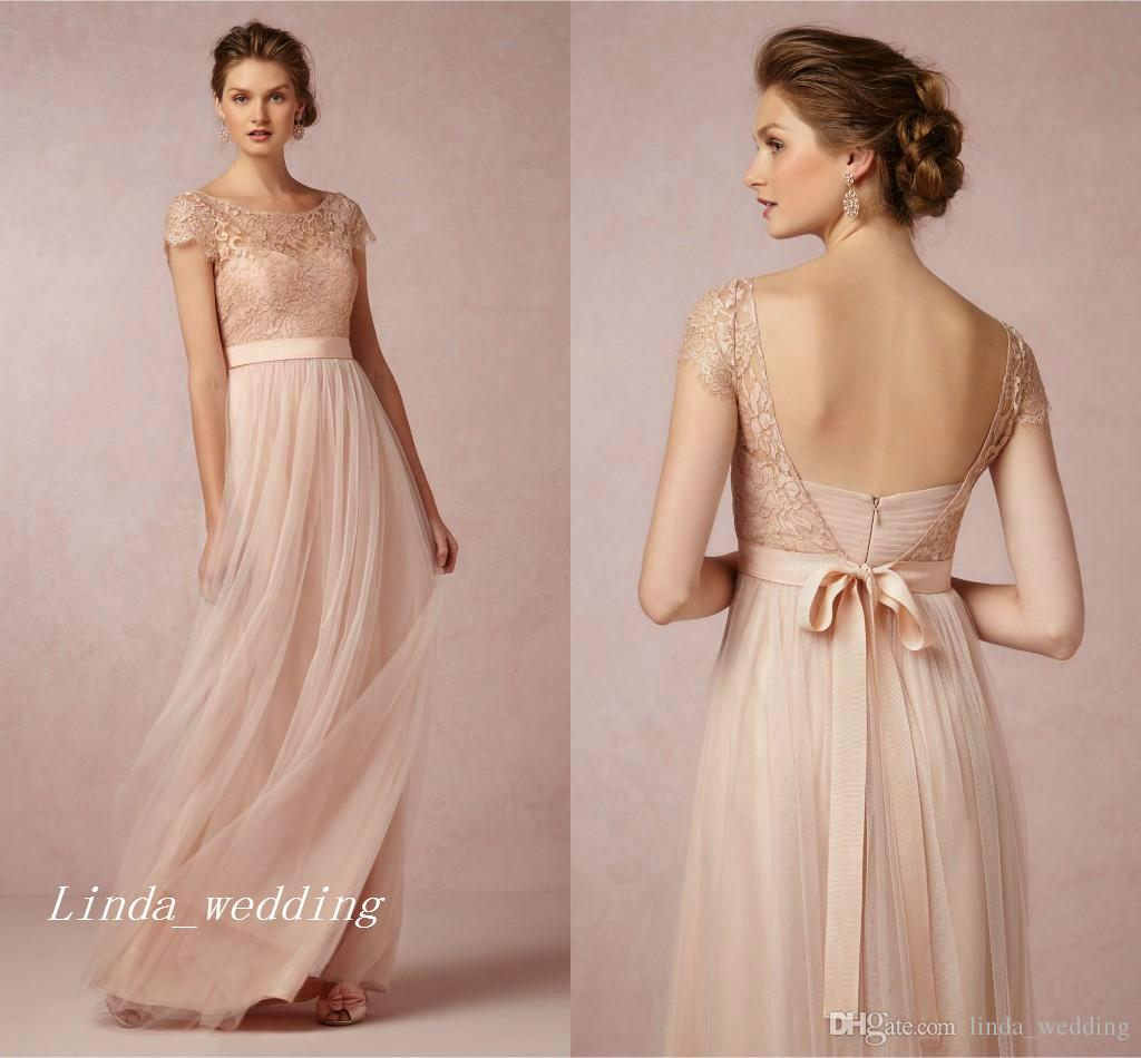 2016 vintage blush pink lace bridesmaid dress popular a line 2016 vintage blush pink lace bridesmaid dress popular a line backless floor length long maid of honor wedding party gown sexy bridesmaid dresses tea length ombrellifo Images