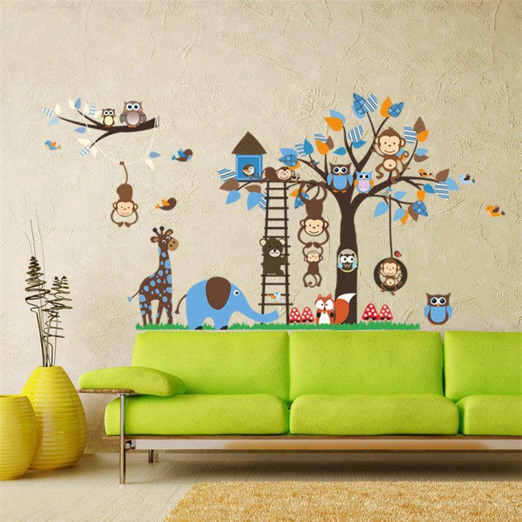 큰 나무 동물 용 어린이 벽 장식 스티커 멍키 올빼미 여우 동물원 스티커 만화 DIY 어린이 아기 홈 데칼 벽화 아트