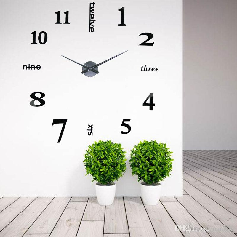 creative designs mirror wall clock large. Wholesale Creative Big DIY 3D Digital Mirror Sticker Wall Clock Modern Art  Clocks Watch Unique Gifts Home Decoration Online with