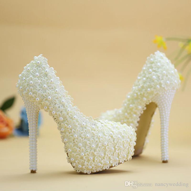 Violet Dentelle Fleur De Mariage Chaussures À La Main Perles Perles De Mariée Hauts Chaussures Chaussures Belle Demoiselle D'honneur Pompes Femmes Robe Chaussures