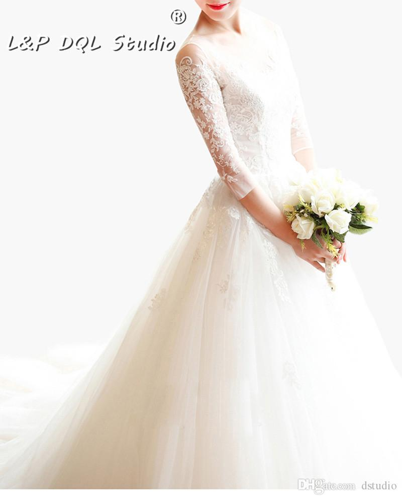 Attraktive Ballkleid Brautkleider Gericht Zug Herbst Winter Illusion Sheer mit Floral Applique Spitze Brautkleider