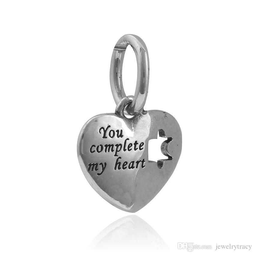 Dangle Charm with DIY book letter Bead Fits European Pandora Jewelry Charm Bracelets puzzle game heart large hole