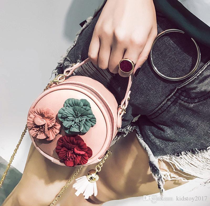 Handtasche Herbst Kinder Handtasche Desinger Runde geformte Flora Kinder Schulterkette mit Quaste PU Crossbody Bag Top Reißverschluss Taschen