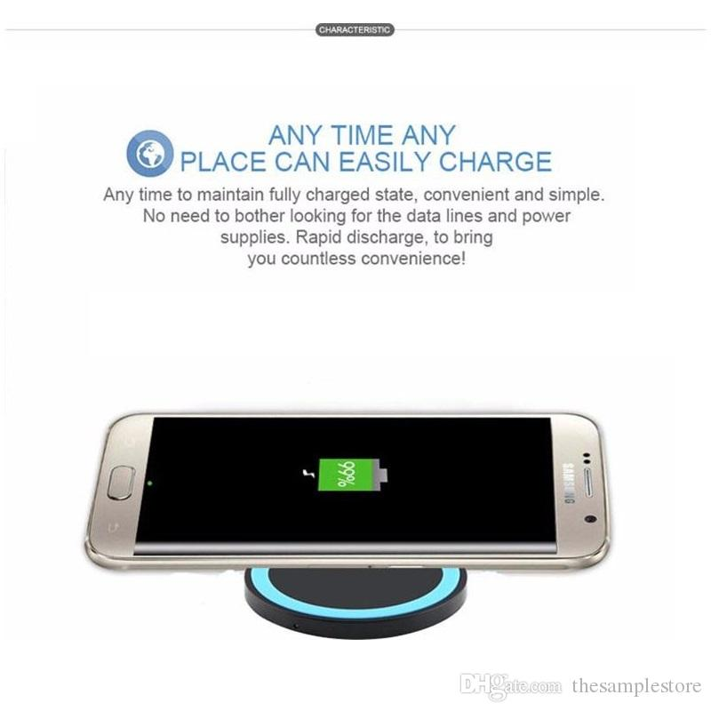 S6 Qi Wireless Charger Cell phone Mini Charge Pad For Qi-abled device Smartphone nokia htc LG cellphone with retail package