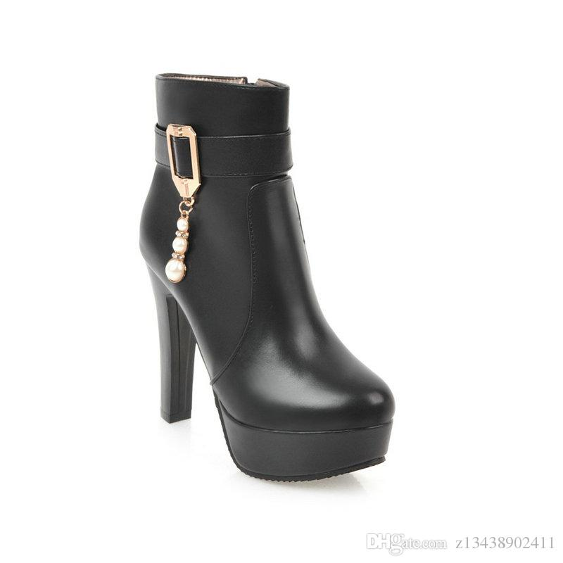 Short boots 2018 to Swedish fashion PU ladies' boots, autumn winter sexy women's shoes, big size 34-43