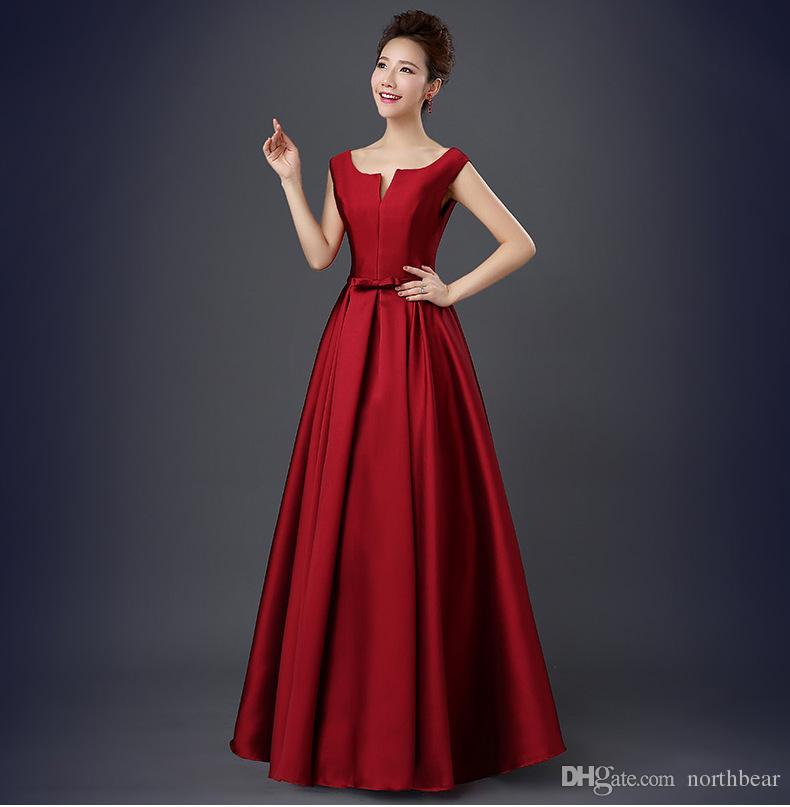 Popodion wedding guest dresses red party elegant formal gowns bridesmaid dresses champagne satin bridesmaid dresses long dhROM80010