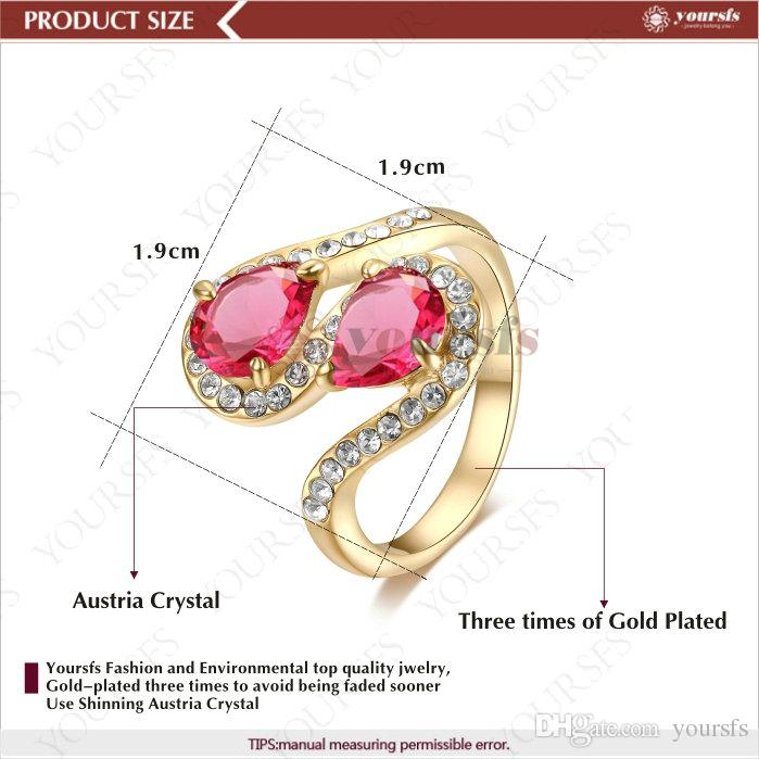 Yoursfs 18 K Rose Gold Plated Cobra Emerald and Rose Red Green Austrian Crystal Pendant Rings For Women Fashion Jewelry Size 6/7/8/9