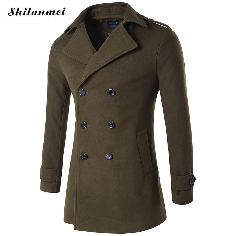 d9ebfae99b All ingrosso- Cotone verde Uomo Trench m per 4xl cappotto elegante cappotto  mens cappotto doppio mantello hommes uomini inverno trench