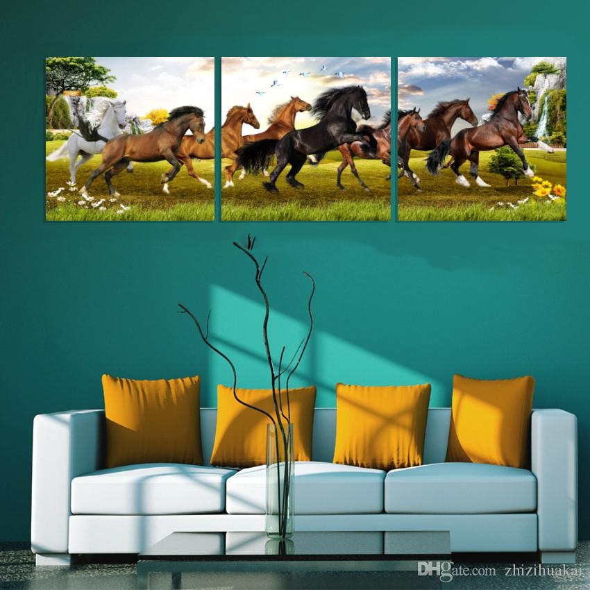 unframed picture Canvas Prints Chinese style oil painting horse characters waterfall Money trees Wine Glass rose petal