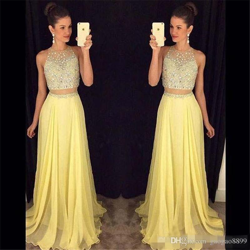 c590189cfb37a 2017 New Cheap Two Pieces Long Prom Dresses Jewel Neck Yellow Peach Chiffon  Crystal Beads 2 Pieces Hollow Back Party Dress Evening Gowns