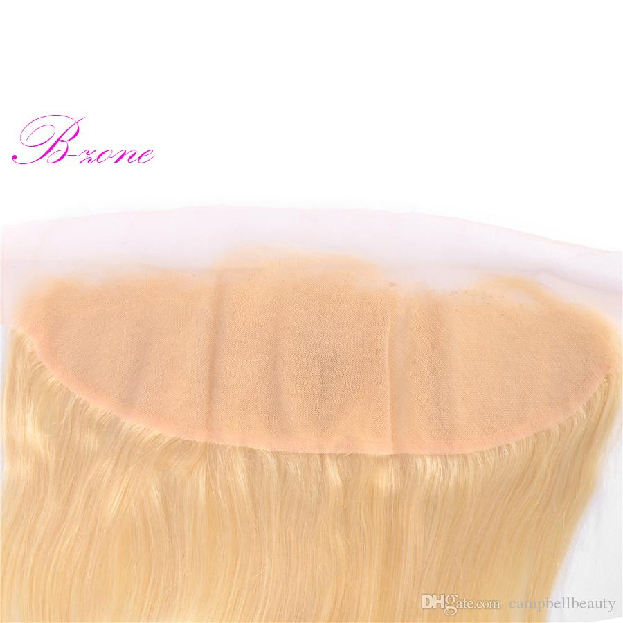 """Blond Hair Lace Frontal #613 100% Virgin Human Hair Weaves 13X4"""" Straight Hair Closure Frontal Extensions Closure"""