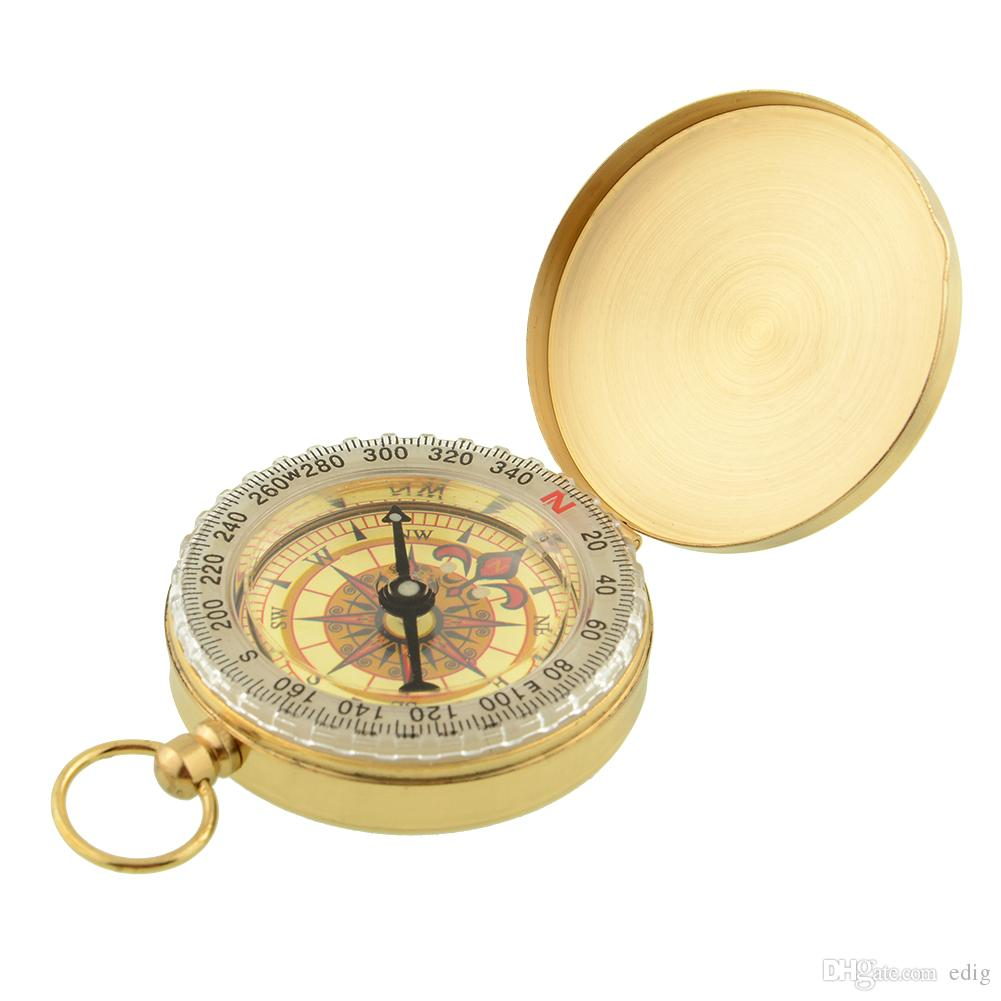 Silver/Golden Copper G50 Portable Travel Hiking Outdoor Classic Brass Compass Camping Pocket Watch Style Compass Keychain Flip Noctilucence