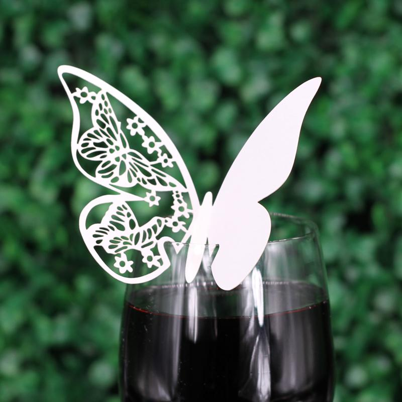 Butterfly Wedding Table Paper Place Card Escort Name Card Wine Glass Card for Wedding Party Decoration