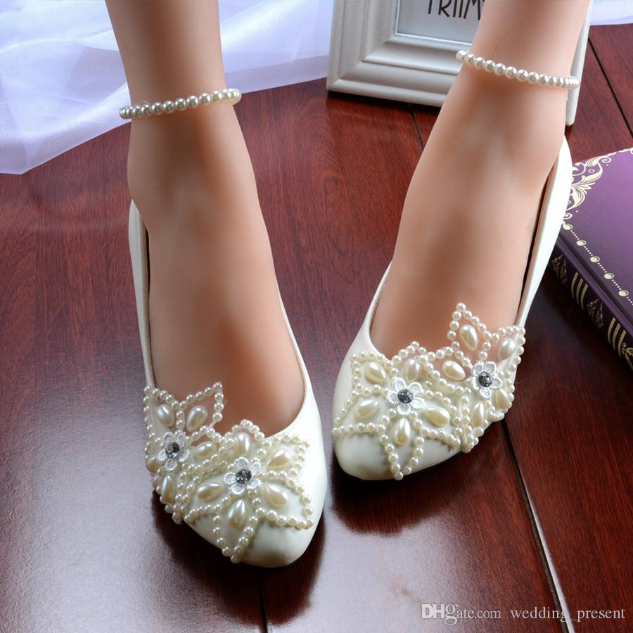 White Five Star Pearls Wedding Shoes 2016 Rhinestone Beaded Anklet