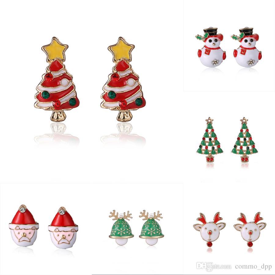 Schmuck Weihnachten.2016 Weihnachten Schmuck Frauen Ohrstecker Weihnachtsbaum Schneemann Deer Weihnachtsmann Diamanten Ohrring Für Verkauf Damen Weihnachten Mode