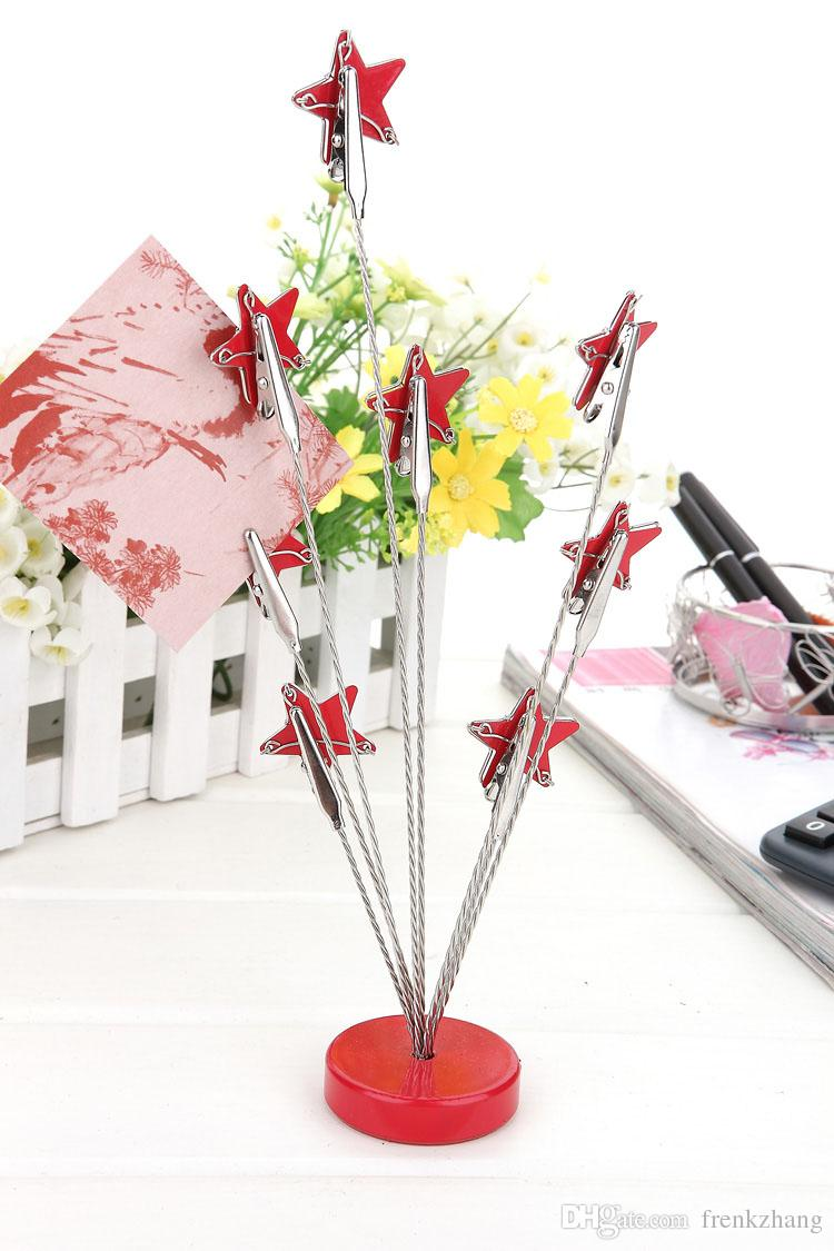 E6 FIVE-POINTED STARS MULTI STEM MEMO CLIP NOVELTY CUTE CREATIVE STAINLESS HAND-MADE ART CRAFTS WEDDING BIRTHDAY HOME OFFICE GIFT PRESENT