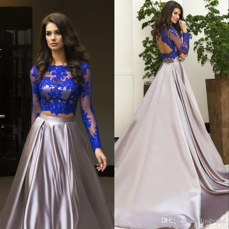 Gorgeous Two Piece Formal Dress 2017 Long Sleeve Lace Evening Dress