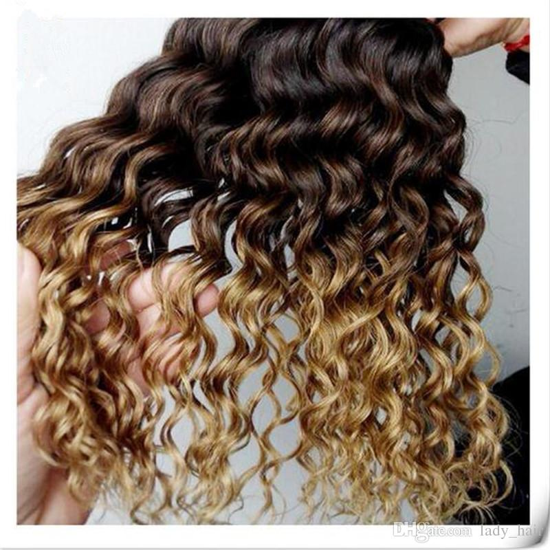 #1B/4/27 Honey Blonde Ombre Brazilian Hair Weaves Dark Roots Three Tone Human Hair Extensions Deep Curly Wave Virgin Ombre Hair 3Bundles