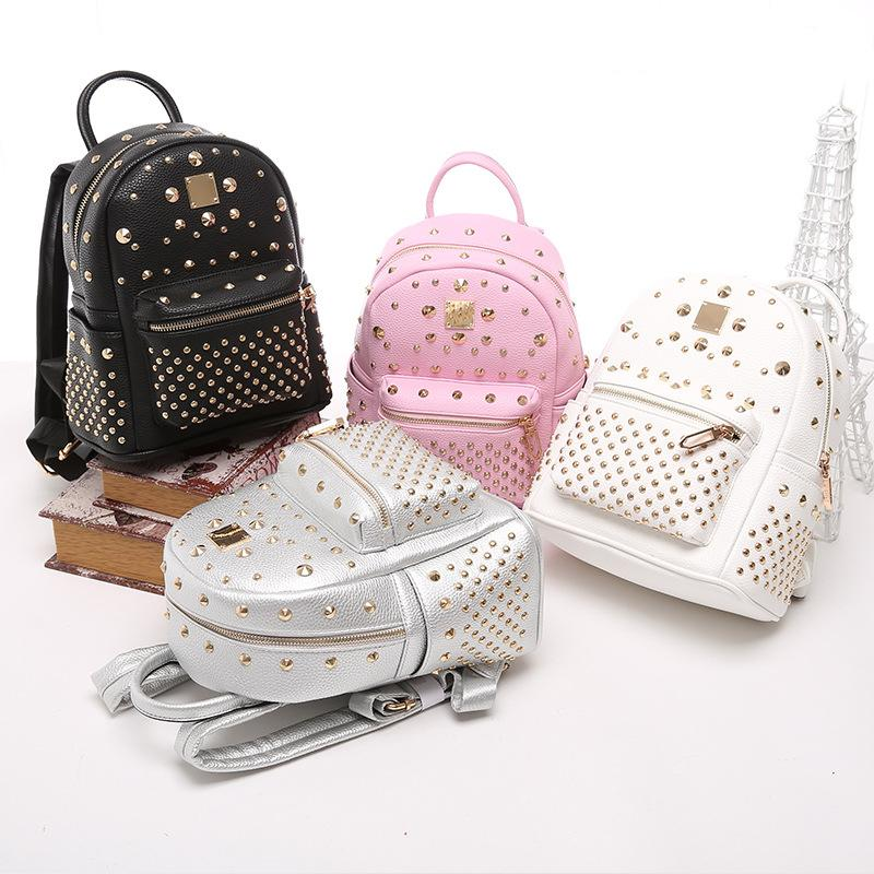 8a9dc515bdb8 Cute Mini Rivet Backpack For Women Black Gold Silver Backpacks Korean  Backpack Style Christmas Gift For Girl Friend Fashion Bags 2016 New  Designer Backpacks ...