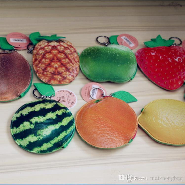 2016 borsa portafoglio della frutta del fumetto mano signora mini piccola borsa creativa pu pacchetto portatile chiave materiale