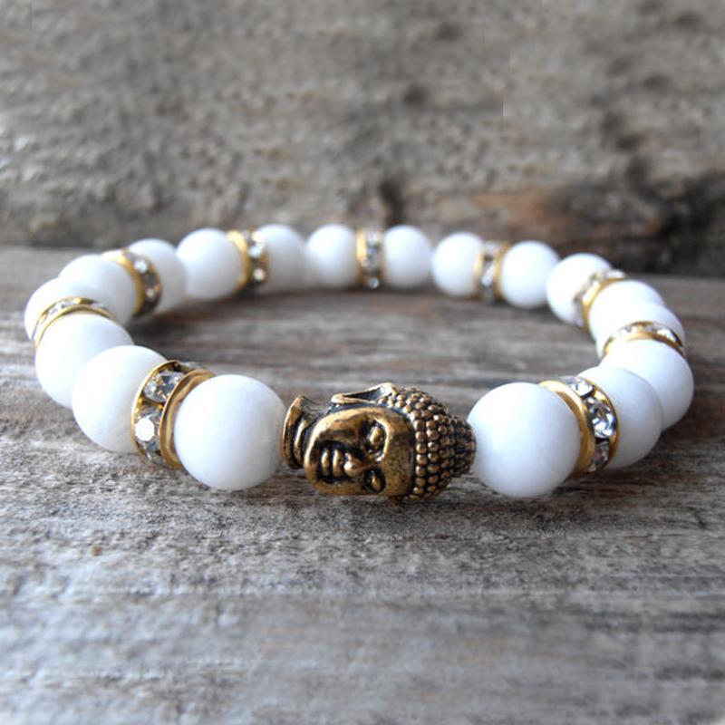 SN0573 Mais Novo Design de Jóias Jade Buddha pulseira Strass buddha pulseira Para A Mulher Fantasia Branco pulseira Atacado