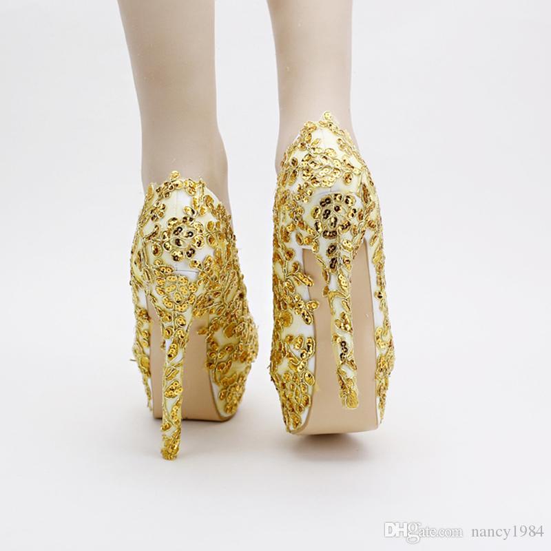Gold Bridal Shoes Lace Glitter Formal Dress Shoes Stiletto Heel Handmade 14cm Heels Women Evening Party Bridesmaid Pumps