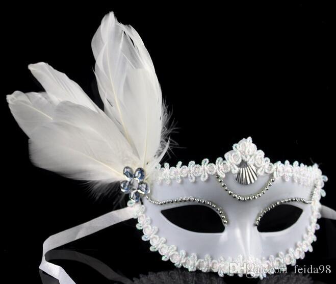 Masquerade masks men and women children mask catwalk side feather mask black and white couple mask large floating hair mask