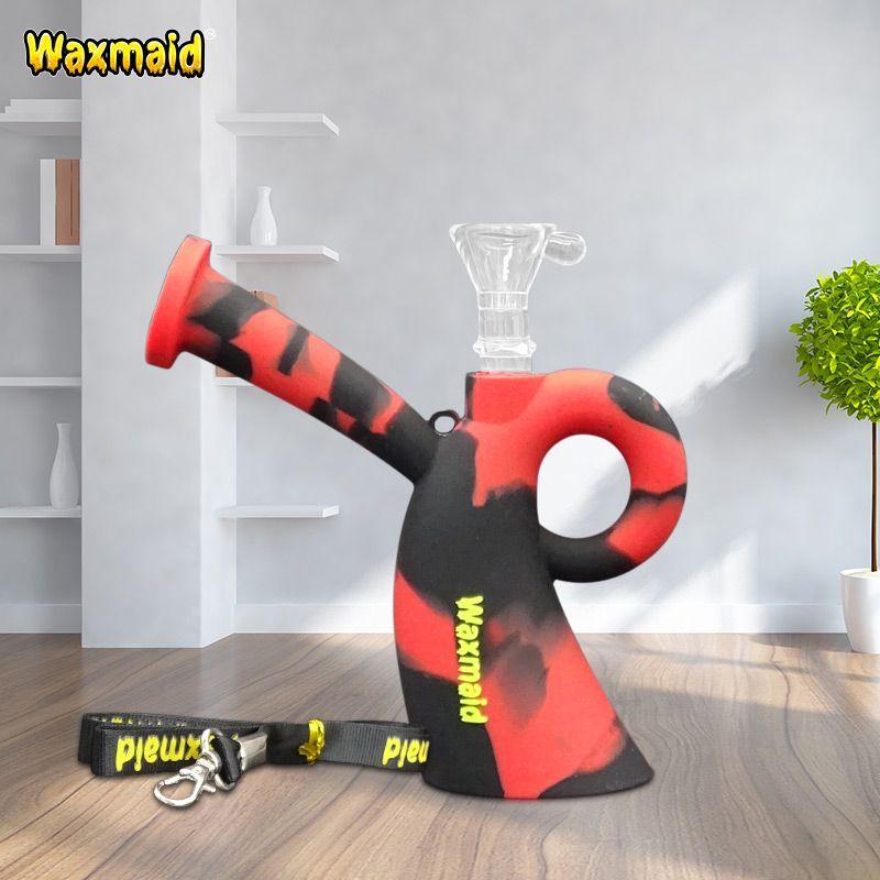 Fumer des plates-formes pétrolières Waxmaid Miss Silicone incassable conduites d'eau bon marché bongs avec lanière bong accessoires bol en verre pour huile de cire noir